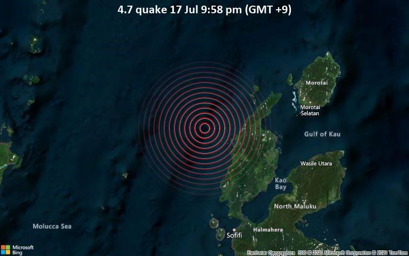 Leichtes Erdbeben der Stärke 4.7 - Molucca Sea, 86 km westlich von Tobelo, Indonesien, am Samstag, 17. Jul 2021 um 12:58 GMT