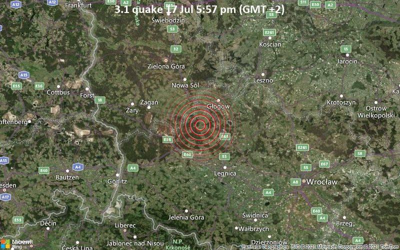 Leichtes Erdbeben der Stärke 3.1 - Powiat Polkowicki, 23 km südwestlich von Głogów, Polen, am Samstag, 17. Jul 2021 um 17:57 Lokalzeit