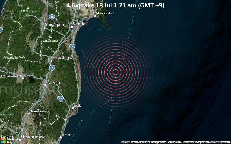 Leichtes Erdbeben der Stärke 4.6 - Nordpazifik, 93 km nordöstlich von Iwaki, Präfektur Fukushima, Japan, am Sonntag, 18. Jul 2021 um 01:21 Lokalzeit