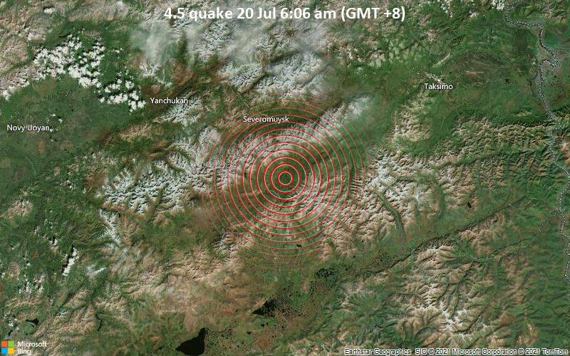 Moderates Erdbeben der Stärke 4.5 - 31 km südöstlich von Severomuysk, Burjatien, Russland, am Montag, 19. Jul 2021 um 22:06 GMT