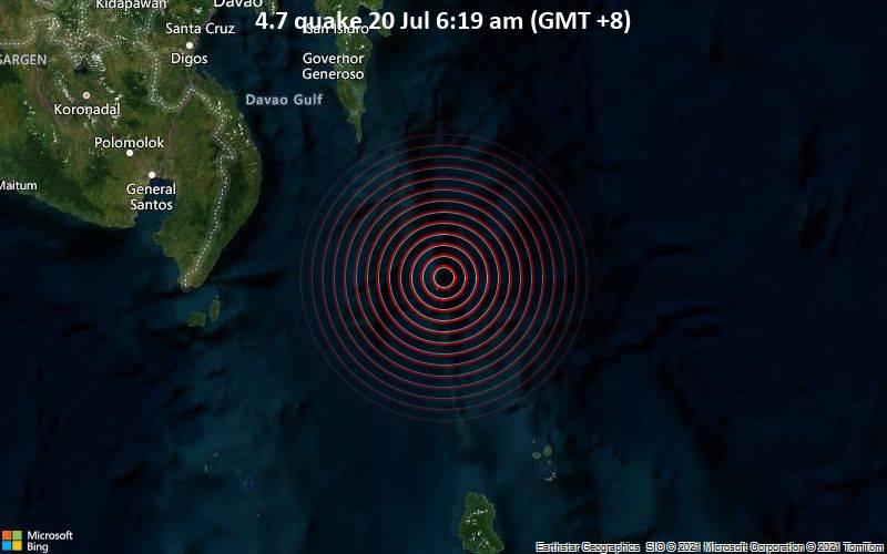 Leichtes Erdbeben der Stärke 4.7 - Philippines Sea, 197 km südöstlich von Davao, Philippinen, am Montag, 19. Jul 2021 um 22:19 GMT