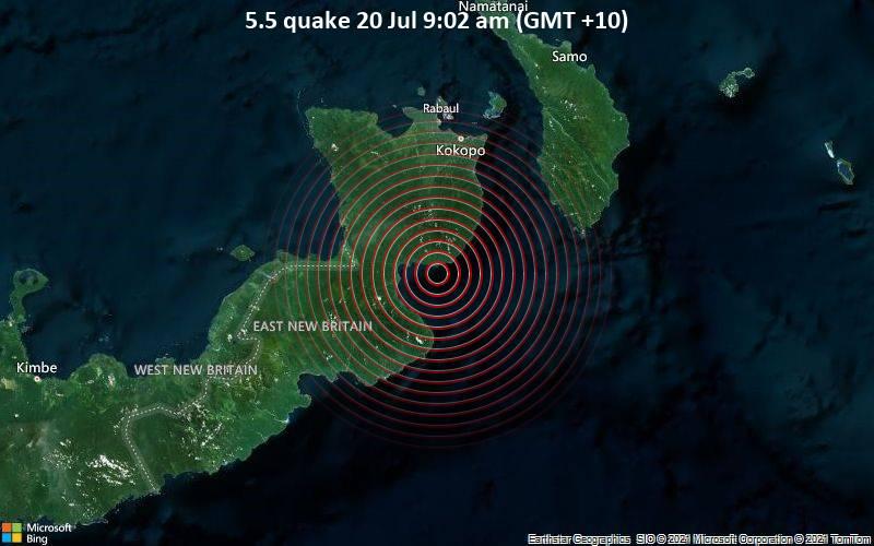 Starkes Magnitude 5.5 Erdbeben - Solomon Sea, 76 km südlich von Herbertshöhe, Papua-Neuguinea, am Montag, 19. Jul 2021 um 23:02 GMT
