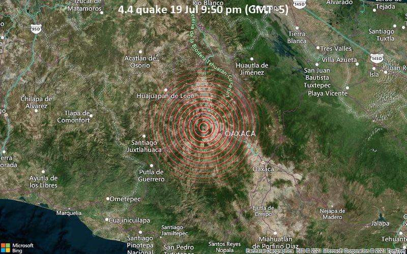 Leichtes Erdbeben der Stärke 4.4 - Santiago Nejapilla, 38 km nordöstlich von Heroica Ciudad de Tlaxiaco, Mexiko, am Dienstag, 20. Jul 2021 um 02:50 GMT