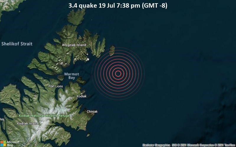 Leichtes Erdbeben der Stärke 3.4 - Gulf of Alaska, 46 km nordöstlich von Saint Paul, Kodiak Island, Alaska, USA, am Montag, 19. Jul 2021 um 19:38 Lokalzeit