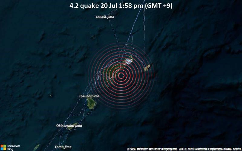 Leichtes Erdbeben der Stärke 4.2 - East China Sea, 19 km südlich von Naze, Amami Shi, Kagoshima, Japan, am Dienstag, 20. Jul 2021 um 04:58 GMT