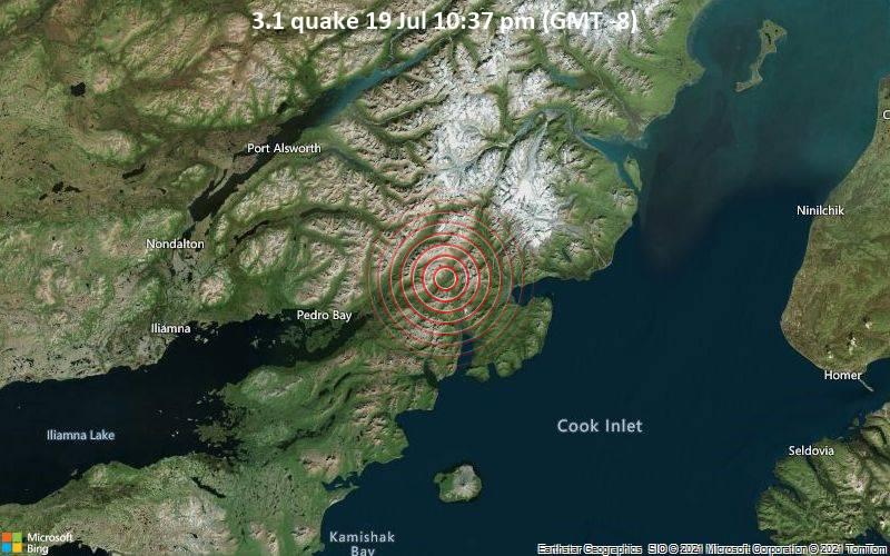 Sehr schwaches Beben Stärke 3.1 - Kenai Peninsula Parish, 95 km westlich von Anchor Point, Kenai Peninsula, Alaska, USA, am Montag, 19. Jul 2021 um 22:37 Lokalzeit