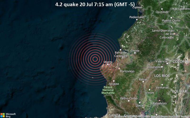 Moderates Erdbeben der Stärke 4.2 - South Pacific Ocean, 37 km westlich von Manta, Provincia de Manabi, Ecuador, am Dienstag, 20. Jul 2021 um 07:15 Lokalzeit
