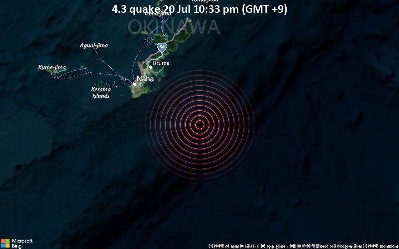 Moderates Erdbeben der Stärke 4.3 - Philippines Sea, 84 km südöstlich von Naha, Präfektur Okinawa, Japan, am Dienstag, 20. Jul 2021 um 13:33 GMT