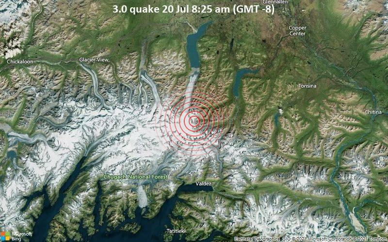 Schwaches Erdbeben Stärke 3.0 - Valdez-Cordova Parish, 38 km nördlich von Valdez, Alaska, USA, am Dienstag, 20. Jul 2021 um 08:25 Lokalzeit
