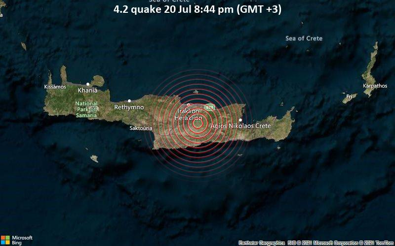 Moderates Erdbeben der Stärke 4.2 - 20 km südöstlich von Heraklion, Kreta, Griechenland, am Dienstag, 20. Jul 2021 um 17:44 GMT