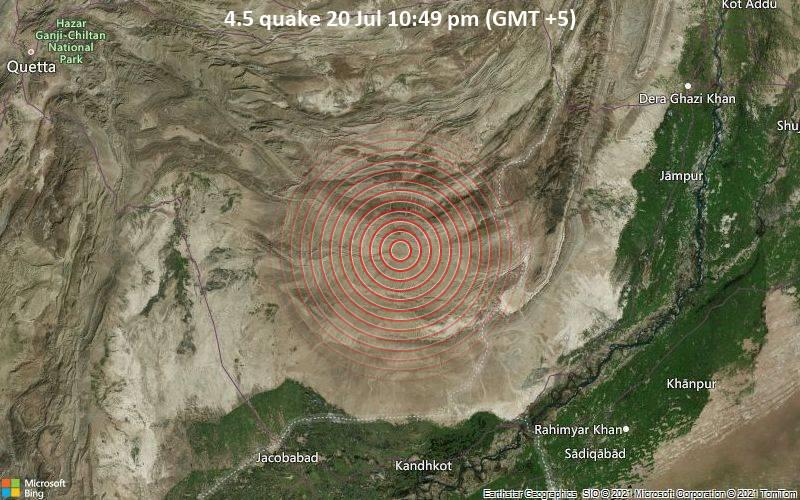 4.5 quake 20 Jul 10:49 pm (GMT +5)