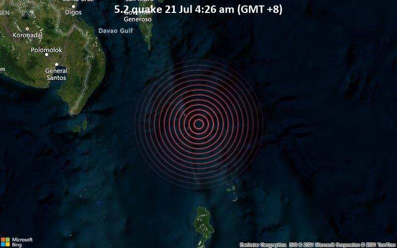 Moderates Erdbeben der Stärke 5.2 - Philippines Sea, 176 km südlich von Mati City, Philippinen, am Dienstag, 20. Jul 2021 um 20:26 GMT