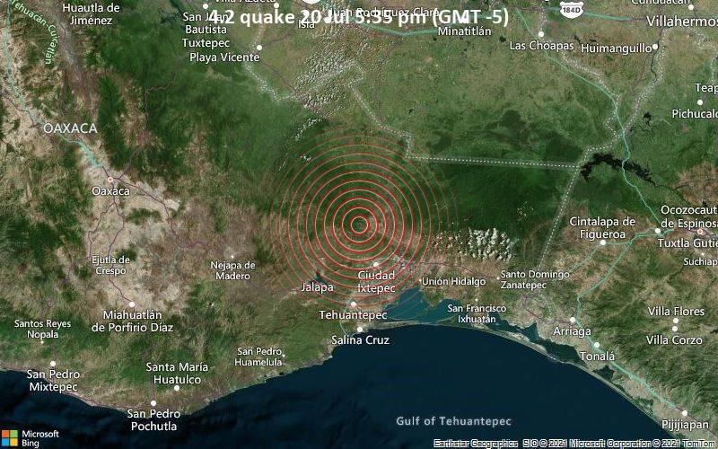 Leichtes Erdbeben der Stärke 4.2 - El Campanario, 45 km nordwestlich von Juchitan de Zaragoza, Oaxaca, Mexiko, am Dienstag, 20. Jul 2021 um 17:35 Lokalzeit
