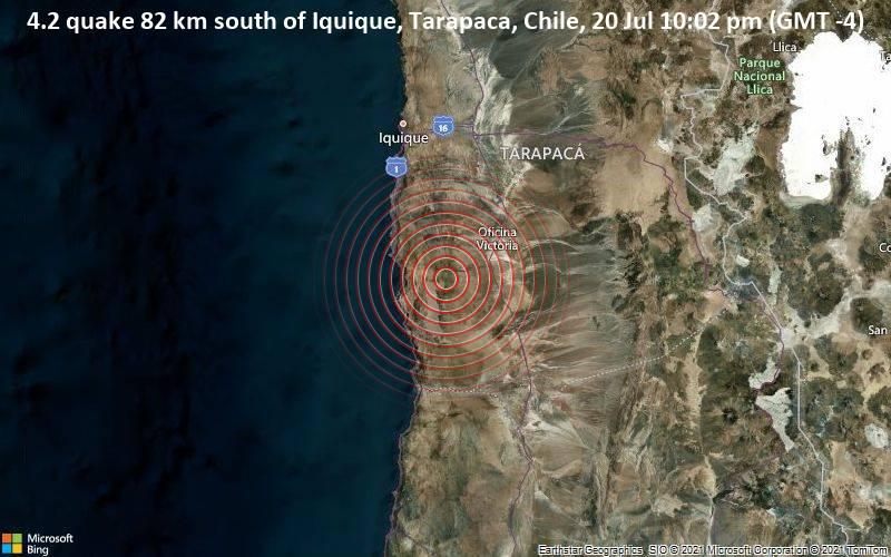 4.2 quake 82 km south of Iquique, Tarapaca, Chile, 20 Jul 10:02 pm (GMT -4)