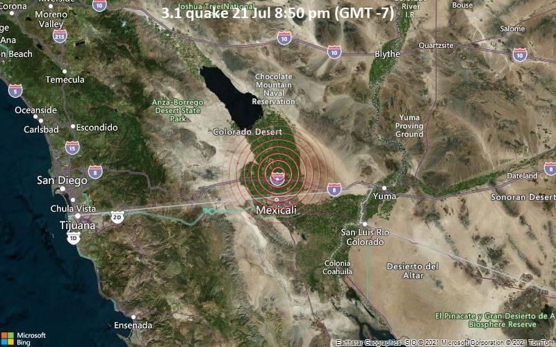 3.1 quake 21 Jul 8:50 pm (GMT -7)