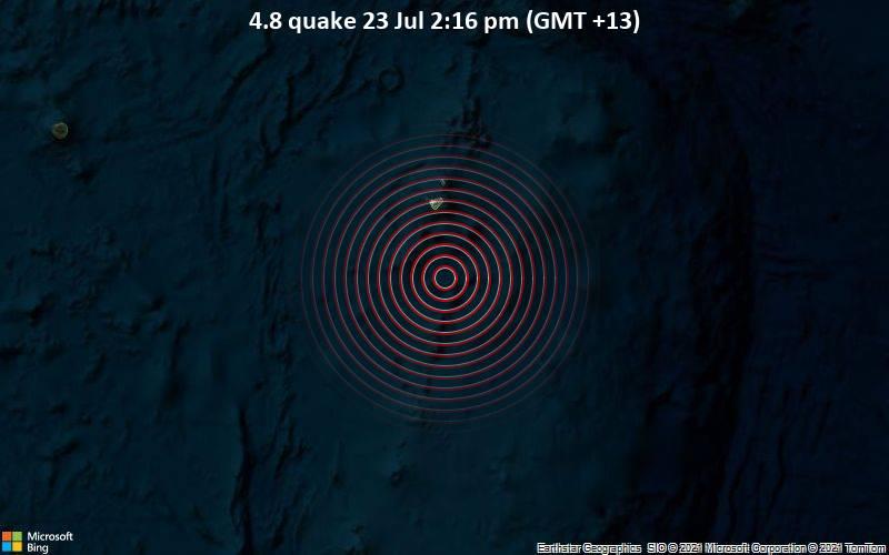 Leichtes Erdbeben der Stärke 4.8 - South Pacific Ocean, 40 km südlich von Hihifo, Niuas, Tonga, am Freitag, 23. Jul 2021 um 01:16 GMT