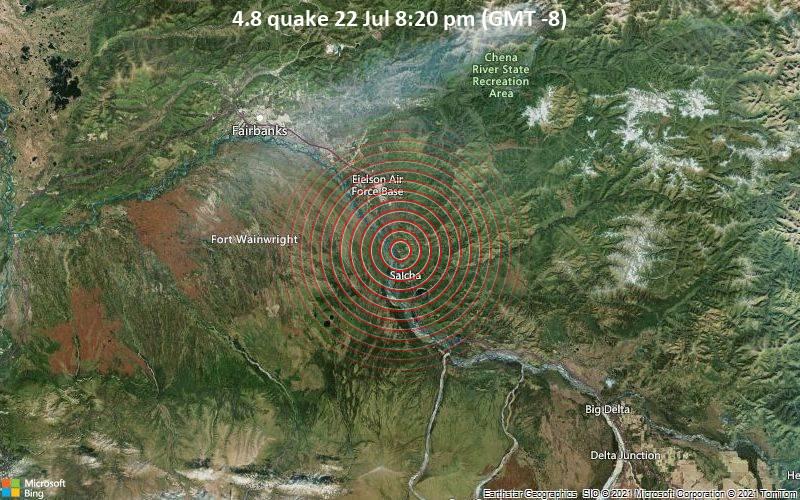 Moderates Erdbeben der Stärke 4.8 - Fairbanks North Star Parish, 49 km südöstlich von Fairbanks, Alaska, USA, am Freitag, 23. Jul 2021 um 04:20 GMT