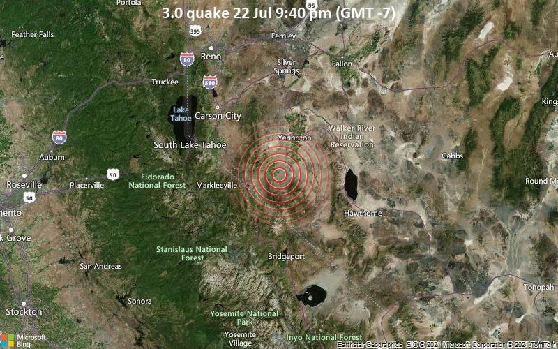 Leichtes Erdbeben der Stärke 3.0 - Lyon County, 62 km südöstlich von Carson City, Nevada, USA, am Donnerstag, 22. Jul 2021 um 21:40 Lokalzeit