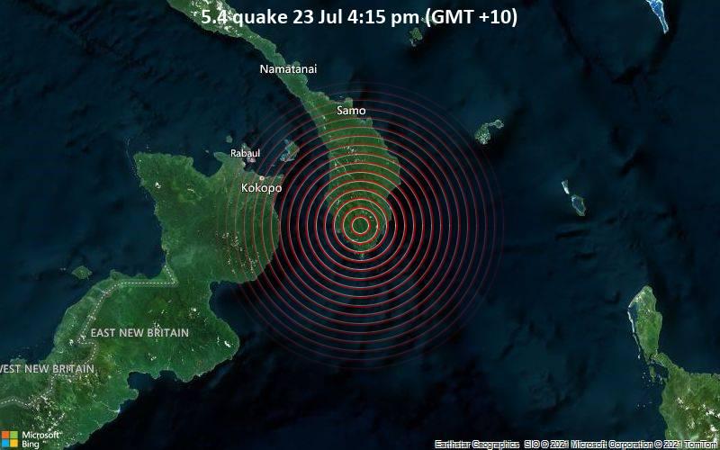 Starkes Magnitude 5.4 Erdbeben - New Ireland, 74 km südöstlich von Herbertshöhe, Papua-Neuguinea, am Freitag, 23. Jul 2021 um 06:15 GMT