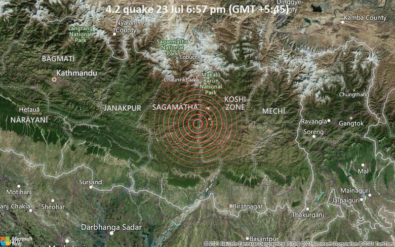 Moderates Erdbeben der Stärke 4.2 - Khotang, 32 km westlich von Khā̃dbāri̇̄, Sankhuwasabha, Province 1, Nepal, am Freitag, 23. Jul 2021 um 13:12 GMT