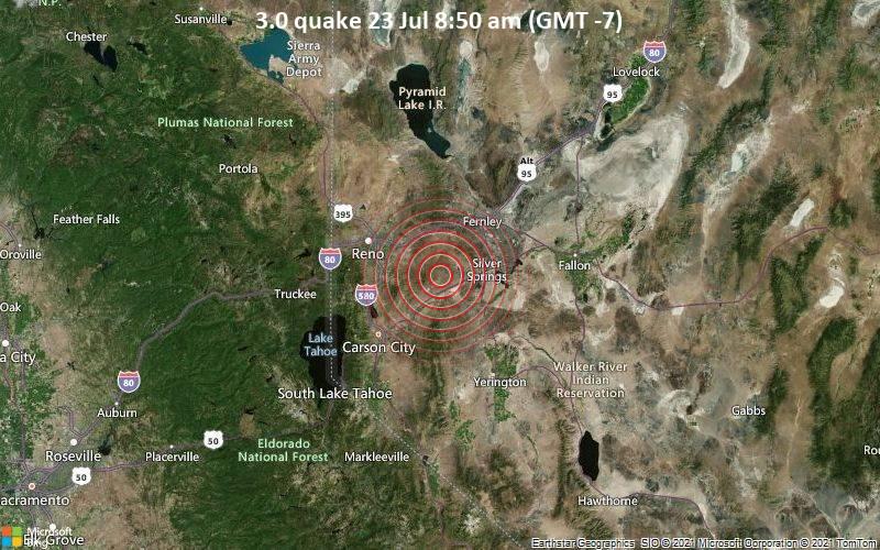 Schwaches Erdbeben Stärke 3.0 - Lyon County, 29 km südöstlich von Sparks, Washoe County, Nevada, USA, am Freitag, 23. Jul 2021 um 08:50 Lokalzeit