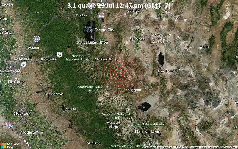 Leichtes Erdbeben der Stärke 3.1 - Mono County, Kalifornien, 80 km südlich von Carson City, Nevada, USA, am Freitag, 23. Jul 2021 um 12:47 Lokalzeit