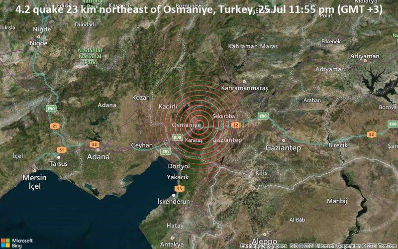 4.2 quake 23 km northeast of Osmaniye, Turkey, 25 Jul 11:55 pm (GMT +3)