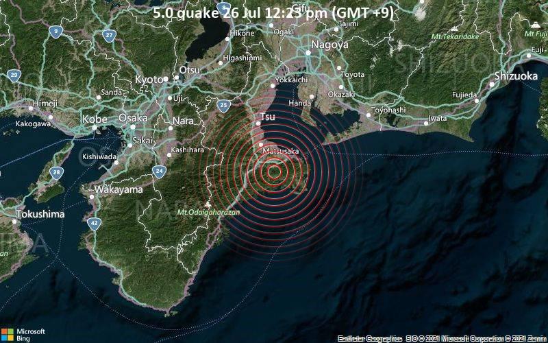 5.0 quake 26 Jul 12:23 pm (GMT +9)