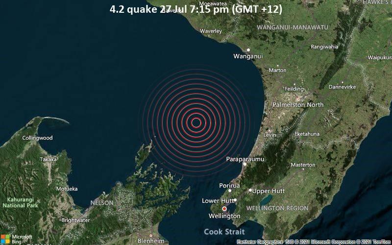 Magnitude 4.2 earthquake strikes near Wellington, Wellington City, New Zealand / VolcanoDiscovery