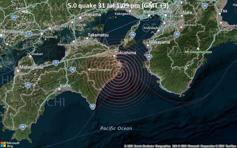 5.0 quake 31 Jul 1:09 pm (GMT +9)