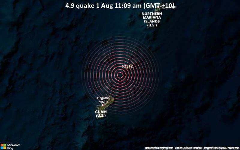 4.9 quake 1 Aug 11:09 am (GMT +10)