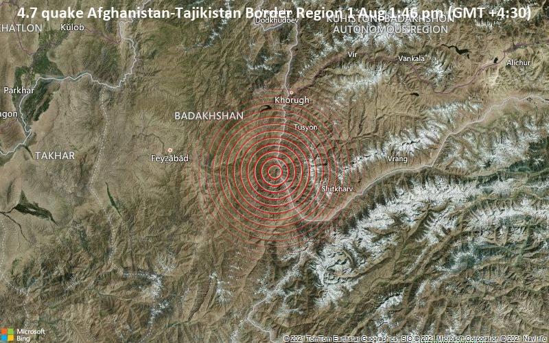4.7 quake Afghanistan-Tajikistan Border Region 1 Aug 1:46 pm (GMT +4:30)