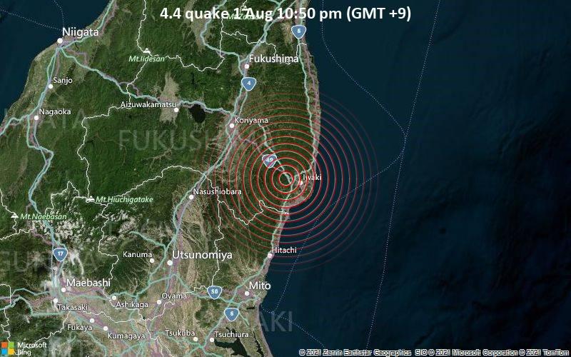 4.4 quake 1 Aug 10:50 pm (GMT +9)