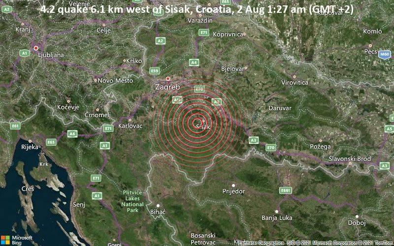 4.2 quake 6.1 km west of Sisak, Croatia, 2 Aug 1:27 am (GMT +2)