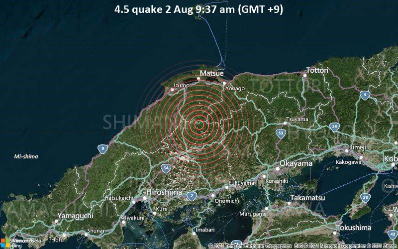 4.5 quake 2 Aug 9:37 am (GMT +9)
