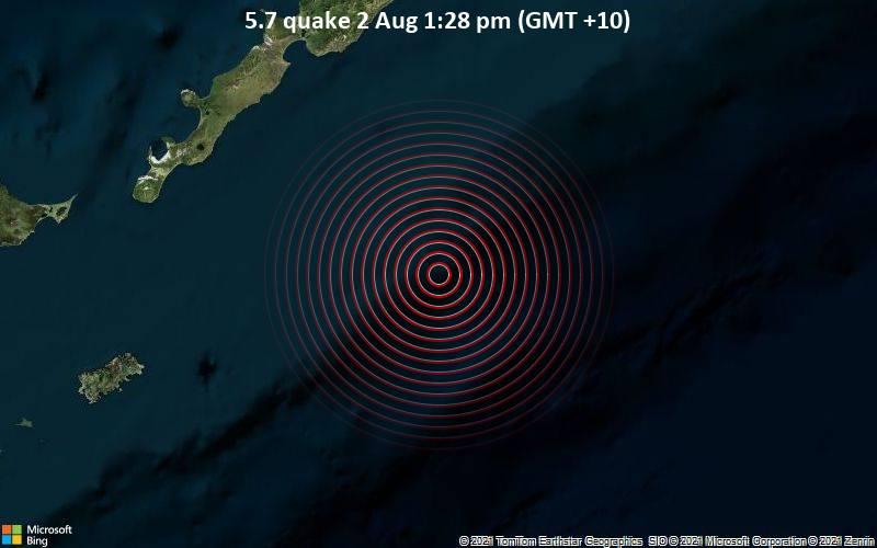 5.7 quake 2 Aug 1:28 pm (GMT +10)