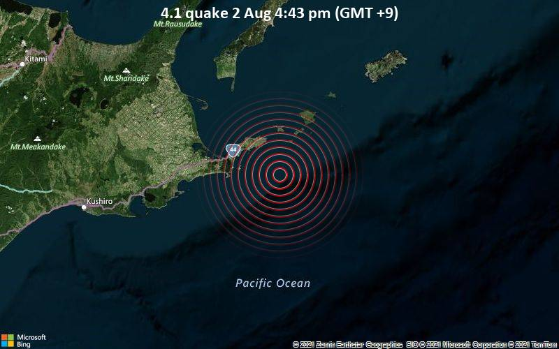 4.1 quake 2 Aug 4:43 pm (GMT +9)