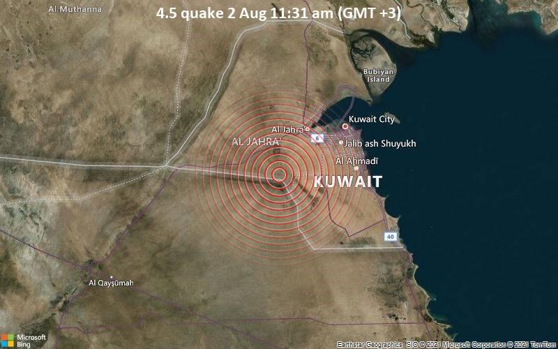 Moderates Erdbeben der Stärke 4.5 - 63 km südwestlich von Kuwait-Stadt, Al Asimah, Kuwait, am Montag,  2. Aug 2021 um 08:31 GMT
