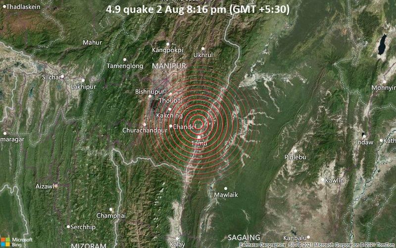 Leichtes Erdbeben der Stärke 4.9 - Tamu District, 80 km nördlich von Mawlaik, Sagaing Region, Myanmar, am Montag,  2. Aug 2021 um 20:16 Lokalzeit