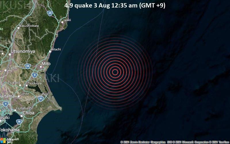 4.9 quake 3 Aug 12:35 am (GMT +9)
