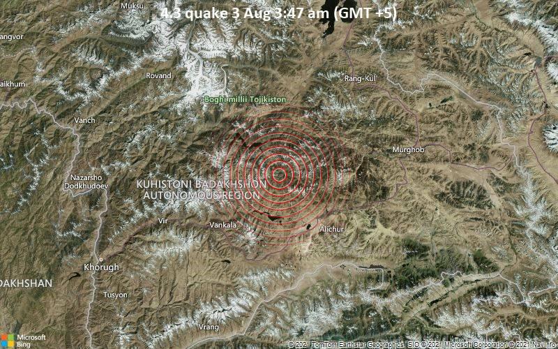 4.3 quake 3 Aug 3:47 am (GMT +5)