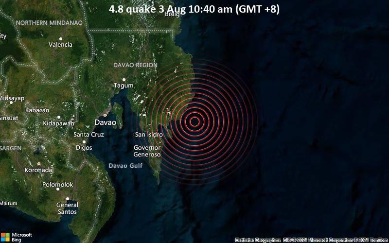 Leichtes Erdbeben der Stärke 4.8 - Philippines Sea, 42 km östlich von Mati City, Philippinen, am Dienstag,  3. Aug 2021 um 02:40 GMT