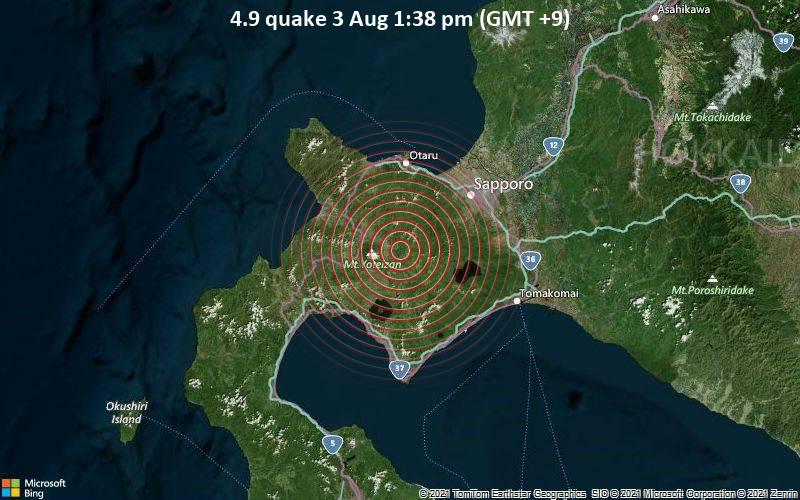4.9 quake 3 Aug 1:38 pm (GMT +9)