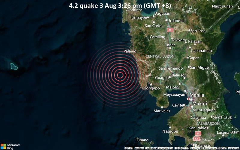 Moderates Erdbeben der Stärke 4.2 - South China Sea, 40 km westlich von San Antonio, Philippinen, am Dienstag,  3. Aug 2021 um 15:26 Lokalzeit
