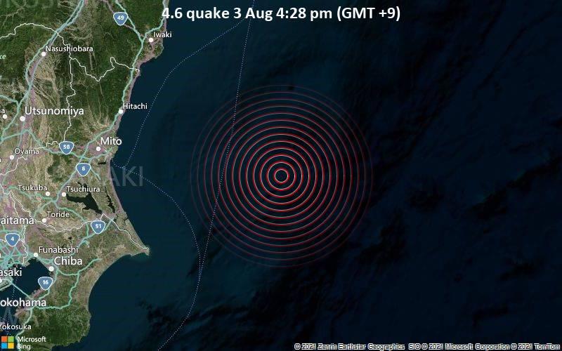 Leichtes Erdbeben der Stärke 4.6 - Nordpazifik, 131 km östlich von Mito, Präfektur Ibaraki, Japan, am Dienstag,  3. Aug 2021 um 07:28 GMT