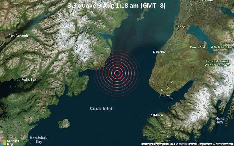 Sehr schwaches Beben Stärke 3.3 - Gulf of Alaska, 36 km westlich von Anchor Point, Kenai Peninsula, Alaska, USA, am Dienstag,  3. Aug 2021 um 01:18 Lokalzeit