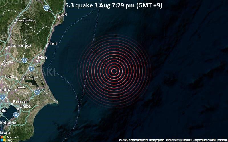 Starkes Magnitude 5.3 Erdbeben - Nordpazifik, 135 km östlich von Mito, Präfektur Ibaraki, Japan, am Dienstag,  3. Aug 2021 um 10:29 GMT