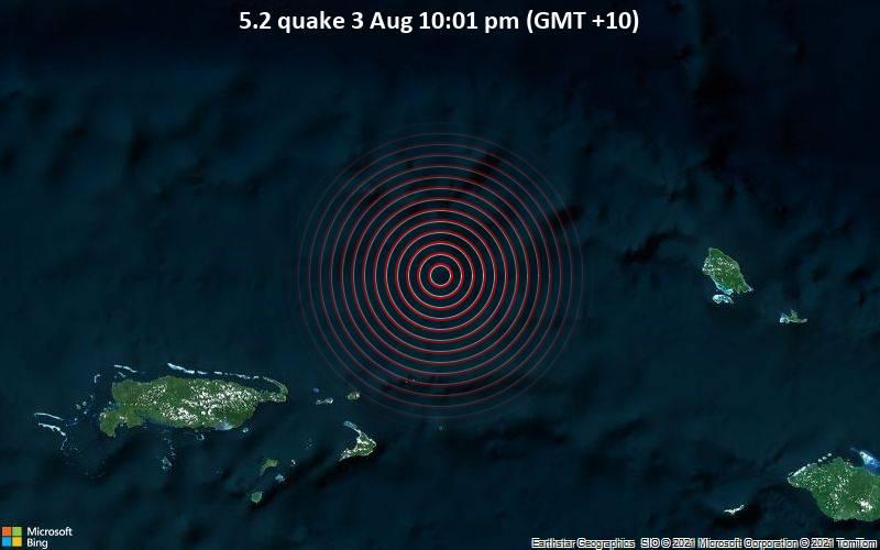 Starkes Magnitude 5.2 Erdbeben - South Pacific Ocean, 122 km nordöstlich von Lorengau, Papua-Neuguinea, am Dienstag,  3. Aug 2021 um 12:01 GMT