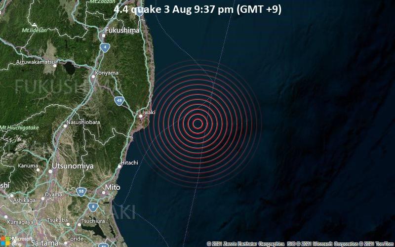 Leichtes Erdbeben der Stärke 4.4 - Nordpazifik, 56 km östlich von Iwaki, Präfektur Fukushima, Japan, am Dienstag,  3. Aug 2021 um 21:37 Lokalzeit