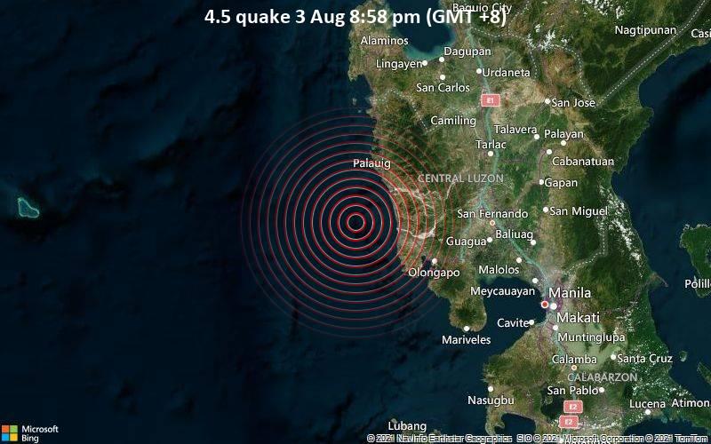 Moderates Erdbeben der Stärke 4.5 - South China Sea, 34 km nordwestlich von San Antonio, Philippinen, am Dienstag,  3. Aug 2021 um 12:58 GMT